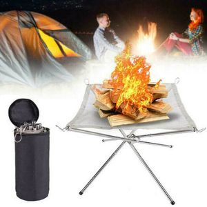 Faltbare Zeltzubehör Mesh Feuerstelle Tragbare Feuerschale Lagerfeuer Draussen Camping Patio Camping Artikel Outdoorausrüstung