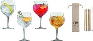 Spiegelau & Nachtmann x EKM Living, 4-teiliges Gin Tonic Gläser-Set mit 4er Set EKM Living Edelstahl Strohhalme kurz (Kupfer) 4390179