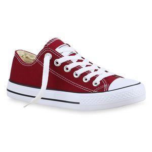 Mytrendshoe Herren Sneakers Sportschuhe Stoffschuhe Schnürer 94238, Farbe: Dunkelrot Lucky, Größe: 45