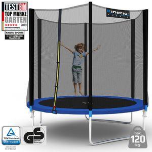 Kinetic Sports Outdoor Gartentrampolin Ø 244 cm, TPLH08, Komplettset inklusive Sprungtuch aus USA PP-Mesh +Sicherheitsnetz +Randabdeckung, bis zu 120kg, , UV-beständig, BLAU
