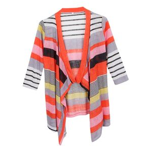 Frauen 3/4 Ärmel Unregelmäßigen Streifen öffnen Vorne Kimono Cardigan Farbe Rotes L