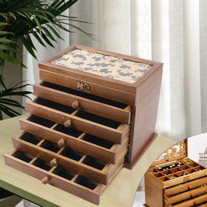 Holz Schmuckkasten  Schmuckschatulle Schmuckkästchen Schmuckkoffer +Schubladen