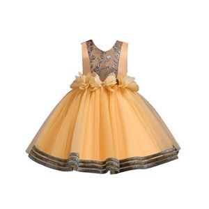 Weibliche Baby-Blumen-Tutu Formale Hochzeit Prinzessin Brautjungfer Prinzessin Kleid,Farbe:Gelb,Größe:130(6-7T)