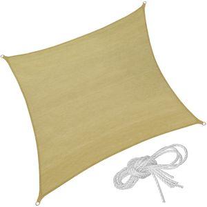 tectake Polyethylen Sonnensegel quadratisch beige - 400 x 400 cm