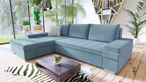 Mirjan24 Ecksofa Bangkok Mini, Moderne Eckcouch für Wohnzimmer, Schlaffunktion und Bettkasten, Gästezimmer, L-Form Sofa (Magic Velvet 2260 + Magic Velvet 2260 + Senegal 818)