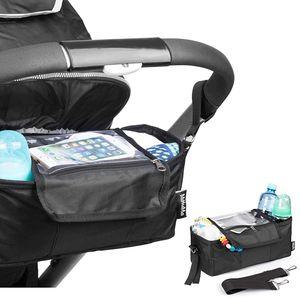 Minuma Kinderwagen Organizer schwarz mit Abdeckhaube und Handyfach | aus 600D Polyester + PVC Beschichtung | 32 x 12,5 x 13 cm inklusive Handytasche für große Handys | wasserabweisend Regenschutz