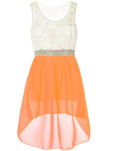 BEZLIT Mädchen Kleid mit Kunst Perlen und Spitze Orange 164