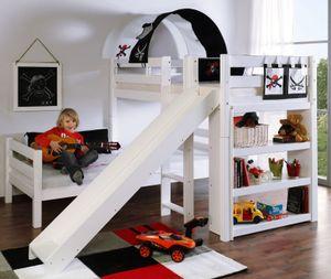 Etagenbett mit Rutsche BENI L Kinderbett Spielbett Bett Weiß Stoff Pirat