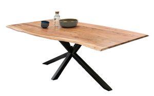 SIT Möbel Baumkante-Esstisch 160 x 85 cm | 36 mm Tischplatte massive Akazie natur | Gestell Metall antikschwarz | B 160 x T 85 x H 78 cm | 15830-11 | Serie TISCHE & BÄNKE