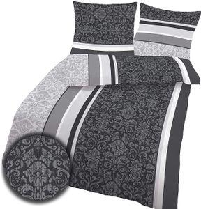 soma Biber Bettwäsche 2 teilig Bettbezug 135 x 200 cm Kopfkissenbezug 80 x 80 cm anthrazit Barock Blume