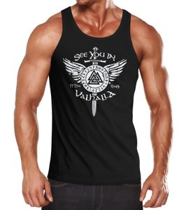 Herren Tank-Top See you in Valhalla Schwert Runen Odin Vikings Muskelshirt Muscle Shirt Neverless® schwarz 3XL