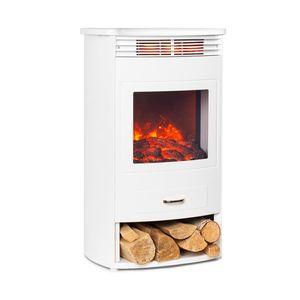 Klarstein Bormio WH Elektrischer Kamin  ,  950/1900W  ,  Thermostat  ,  Wochentimer  ,  OpenWindow Detection  ,  verschiedene Flammeneffekte  ,  zuschaltbare Heizung  ,  Stauraum für Holzscheite  ,  weiß