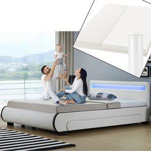 Juskys Polsterbett Bilbao 140x200 cm mit Matratze – Bett inkl. Bettkästen, LED-Beleuchtung & Lattenrost – Bettgestell Holz und Kunstleder – weiß