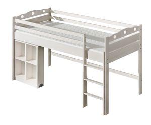 Kinderbett / Hochbett Milo 23 inkl. Schreibtisch, Farbe: Weiß, massiv, Liegefläche: 90 x 200 cm (B x L)
