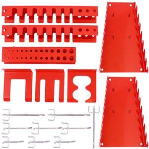 Hakenset Erweiterung 17 teilig, für Werkzeugwand Lochwand Werkzeughalter, Rot