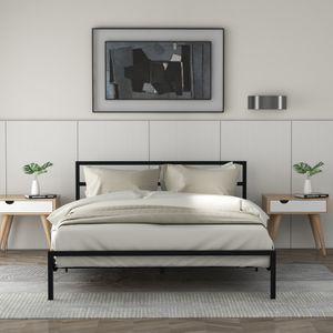 Doppelbett Bettgestell 140x200cm Metallbett mit Lattenrost und Kopfteil Metallbeine mit Bodenschoner Max 200kg tragen