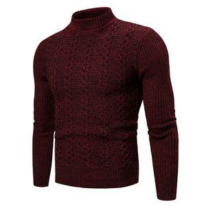 Herren Winter Rollkragenpullover Langarm Strickpullover Top Outwear Mantel Größe:M,Farbe:Rot