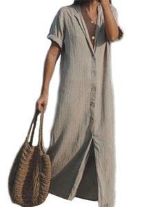 Damen Baumwoll Leinen Hemd Kleid über dem Knie langen Rock,Farbe:  Grau,Größe:M