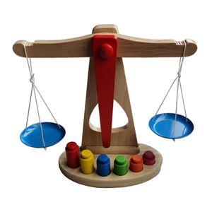 Kaufladen Waage Spielwaage Spielzeug für Kinder, ab 3 Jahren, aus Holz mit zwei Waagschalen, Messgewichten und  Ausgleichsgewichten