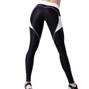 Frauen Elastic High Waist Pocket Patchwork Hueftlift Fitness Leggings Yoga Hose Schwarz M.