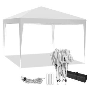 Faltpavillon 3x3m Pop Up Pavillon Faltbar,Oben mit Belüftungsloch,wasserdicht, Faltpavillon Gartenzelt, Partyzelt, Gartenpavillon Partyzelt für Garten Party Markt Picknick, inkl .Tasche, Weiß