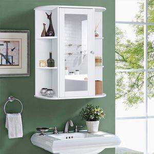 WYCTIN Spiegelschrank Badspiegelschrank Wandschrank Badschrank Regal Weiß 60*17*58cm