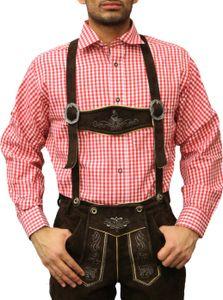 Trachtenhemd für Trachtenlederhosen Oktoberfest Trachtenmode rot/kariert 100% Baumwolle, Größe:L