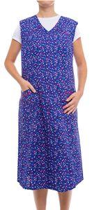 Tobeni Damen Kittelschürze lang mit Reissverschluss und Taschen ohne Arm 100% Baumwolle, Farbe:Design 31, Grösse:44