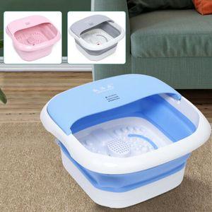 Faltbar Fußsprudelbad Fußbadewanne Fußmassagebad Fußbad Fuß Massagegerät 500W mit Thermostatisch Heizung (Blau)