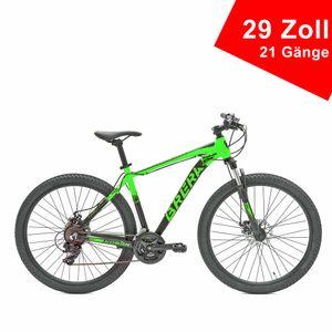BRERA KOBAN 29 Zoll 38 cm Rahmengröße 21 Gänge Fahrrad Unisex Mountainbike Fitnessrad Herren Herrenrad Crossbike Grün