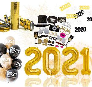 XXL Silvester Deko Set 2021 - mit Luftballons, Luftschlangen, Latexballons, Konfetti, Fotorequisitten als Dekoration zu Neujahr
