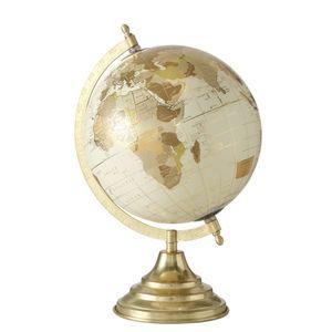 1x Dekoaufsteller Globe 2 sort.Globus Standfuß H 34 cm Papier Eisen Kunst