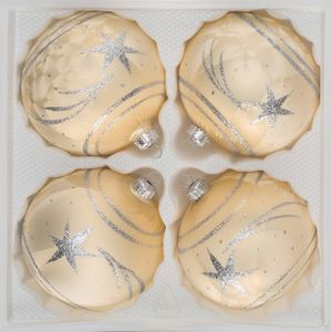 4 tlg. Glas-Weihnachtskugeln Set 10cm Ø in Ice Champagner Silber Komet