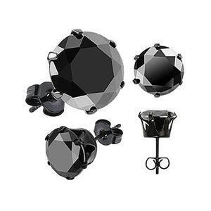 Ohrstecker Zirkonia Edelstahl Damen Herren Ohrringe Kristall schwarz transparent schwarz-rund 8 mm