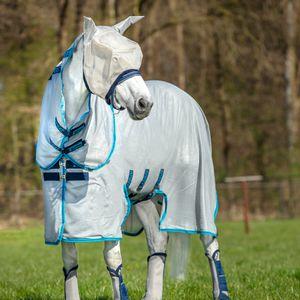 Horseware Amigo Bug Buster Untreated - Silver/Elec Blue, Größe:140
