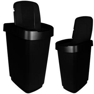 Abfalleimer 25L Schwarz mit Deckel Mülleimer Kunststoff Abfallbehälter Müllsammler