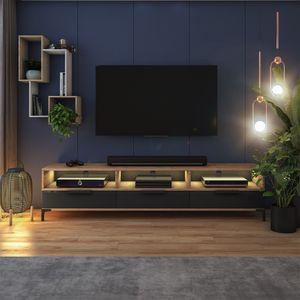 Selsey TV-Lowboard RIKKE - TV-Tisch in Holzoptik Wotan Eiche Matt / Schwarz Hochglanz mit schlanken Füßen, und LED, 160 cm breit