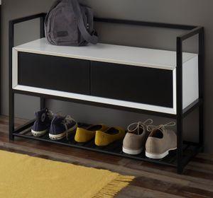 Garderobenbank Kasan Schuhbank für Flur und Diele weiß schwarz matt lackiert Bank 84 cm