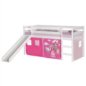Rutschbett BENNY weiß mit Vorhang PRINZESSIN,pink/ rosa