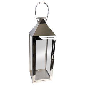 Edelstahl Laterne 'Shiny' 19x19xH56cm - Silber