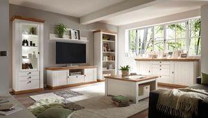 Landhaus Wohnwand 577cm pinie weiß / wotan eiche Anbauwand Bücherregal