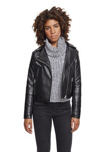 Urban Classics Damen Übergangsjacke Faux Leather Biker Jacket TB2371 Schwarz Black XS