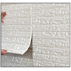 Meco 1PCS 3D Selbstklebend Tapete Wandpaneele Selbstklebend Ziegelstein ziegel Wasserdicht Weiß 70x77cm