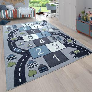 Kinder-Teppich Für Kinderzimmer, Spiel-Teppich Mit Hüpfkästchen und Straßen, Grau, Grösse:140x200 cm