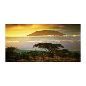 Tulup® Acrylglas - 140 x70 cm - Bild auf Plexiglas Acrylglas Bild - Dekorative Wand für Küche & Wohnzimmer  - Landschaften - Kilimandscharo Kenia - Gelb