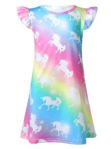 IEFIEL Mädchen Nachthemden Regenbogen Prinzessin Kleider Cartoon Pferd Pyjamas Nachtwäsche