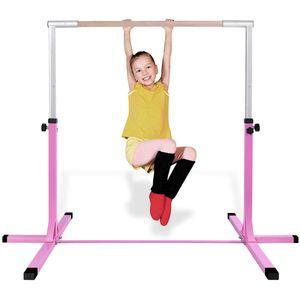 COSTWAY Gymnastik Turnreck, Trainingsgeraete hoehenverstellbar, Turnstangen bis 100kg belastbar, Heimtraining, Rosa