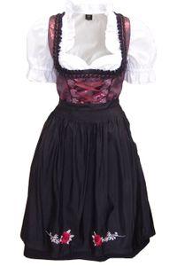 1-teiliges Midi-Dirndl Landhaus Kleid Dirndel ohne Bluse schwarz/weinrot, Größe:44