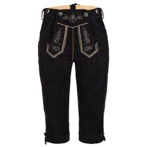 Damen Trachten Lederhose mit Trägern schwarz lang 36