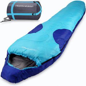 Schlafsack Frozen Mummy 230x82cm Mumienschlafsack - 21°C Zelt Outdoor Camping, Farbe:dunkelblau-hellblau